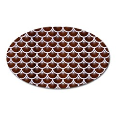 Scales3 White Marble & Reddish Brown Wood Oval Magnet