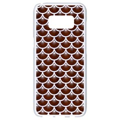 Scales3 White Marble & Reddish Brown Wood Samsung Galaxy S8 White Seamless Case