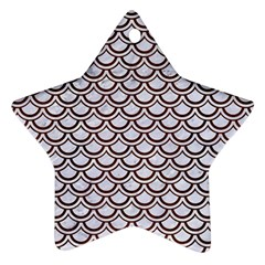 Scales2 White Marble & Reddish Brown Wood (r) Star Ornament (two Sides) by trendistuff
