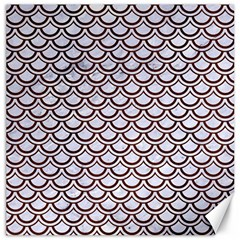 Scales2 White Marble & Reddish Brown Wood (r) Canvas 16  X 16   by trendistuff