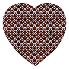 Scales2 White Marble & Reddish Brown Wood Jigsaw Puzzle (heart) by trendistuff