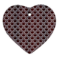 Scales2 White Marble & Reddish Brown Wood Heart Ornament (two Sides) by trendistuff