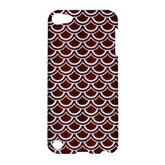 Scales2 White Marble & Reddish Brown Wood Apple Ipod Touch 5 Hardshell Case by trendistuff