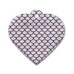 Scales1 White Marble & Reddish Brown Wood (r) Dog Tag Heart (one Side) by trendistuff