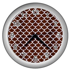 Scales1 White Marble & Reddish Brown Wood Wall Clocks (silver)  by trendistuff