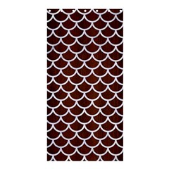 Scales1 White Marble & Reddish Brown Wood Shower Curtain 36  X 72  (stall)  by trendistuff