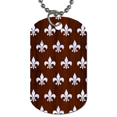 Royal1 White Marble & Reddish Brown Wood (r) Dog Tag (two Sides) by trendistuff