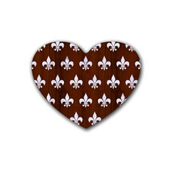 Royal1 White Marble & Reddish Brown Wood (r) Rubber Coaster (heart)  by trendistuff