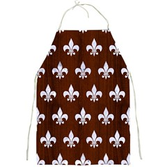 Royal1 White Marble & Reddish Brown Wood (r) Full Print Aprons by trendistuff