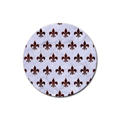 Royal1 White Marble & Reddish Brown Wood Rubber Round Coaster (4 Pack)  by trendistuff