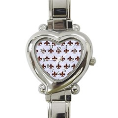 Royal1 White Marble & Reddish Brown Wood Heart Italian Charm Watch by trendistuff