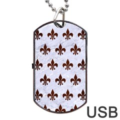 Royal1 White Marble & Reddish Brown Wood Dog Tag Usb Flash (one Side) by trendistuff