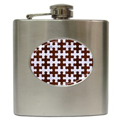 Puzzle1 White Marble & Reddish Brown Wood Hip Flask (6 Oz) by trendistuff