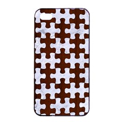 Puzzle1 White Marble & Reddish Brown Wood Apple Iphone 4/4s Seamless Case (black) by trendistuff