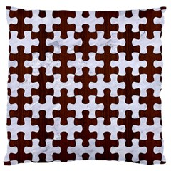 Puzzle1 White Marble & Reddish Brown Wood Large Cushion Case (two Sides) by trendistuff
