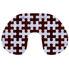 Puzzle1 White Marble & Reddish Brown Wood Travel Neck Pillows by trendistuff