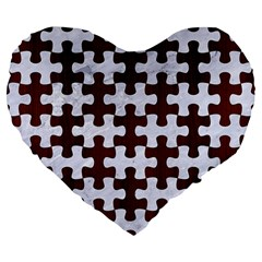 Puzzle1 White Marble & Reddish Brown Wood Large 19  Premium Flano Heart Shape Cushions by trendistuff