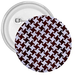 Houndstooth2 White Marble & Reddish Brown Wood 3  Buttons by trendistuff