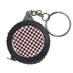 Houndstooth2 White Marble & Reddish Brown Wood Measuring Tape by trendistuff