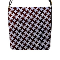 Houndstooth2 White Marble & Reddish Brown Wood Flap Messenger Bag (l)  by trendistuff