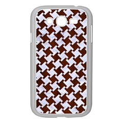 Houndstooth2 White Marble & Reddish Brown Wood Samsung Galaxy Grand Duos I9082 Case (white) by trendistuff