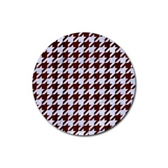 Houndstooth1 White Marble & Reddish Brown Wood Rubber Coaster (round)  by trendistuff