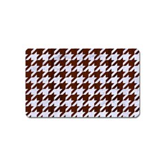 Houndstooth1 White Marble & Reddish Brown Wood Magnet (name Card) by trendistuff