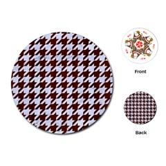 Houndstooth1 White Marble & Reddish Brown Wood Playing Cards (round)