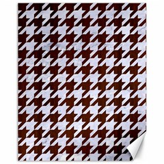 Houndstooth1 White Marble & Reddish Brown Wood Canvas 11  X 14   by trendistuff