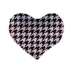 Houndstooth1 White Marble & Reddish Brown Wood Standard 16  Premium Flano Heart Shape Cushions by trendistuff