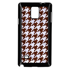 Houndstooth1 White Marble & Reddish Brown Wood Samsung Galaxy Note 4 Case (black)