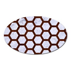 Hexagon2 White Marble & Reddish Brown Wood (r) Oval Magnet by trendistuff