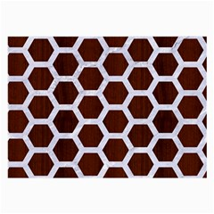 Hexagon2 White Marble & Reddish Brown Wood Large Glasses Cloth (2 Side) by trendistuff