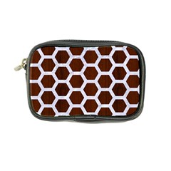 Hexagon2 White Marble & Reddish Brown Wood Coin Purse by trendistuff