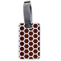 Hexagon2 White Marble & Reddish Brown Wood Luggage Tags (one Side)  by trendistuff