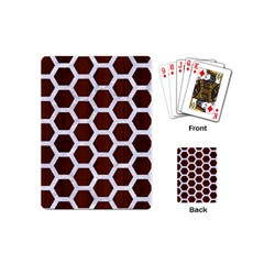 Hexagon2 White Marble & Reddish Brown Wood Playing Cards (mini)  by trendistuff