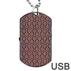 Hexagon1 White Marble & Reddish Brown Wood Dog Tag Usb Flash (one Side) by trendistuff