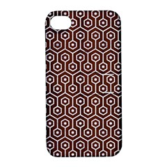 Hexagon1 White Marble & Reddish Brown Wood Apple Iphone 4/4s Hardshell Case With Stand by trendistuff