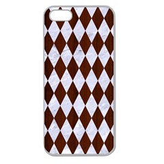Diamond1 White Marble & Reddish Brown Wood Apple Seamless Iphone 5 Case (clear) by trendistuff
