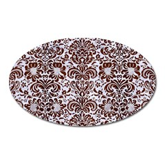 Damask2 White Marble & Reddish Brown Wood (r) Oval Magnet by trendistuff
