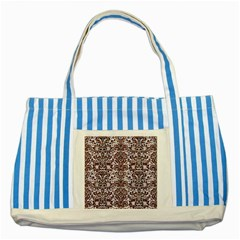 Damask2 White Marble & Reddish Brown Wood (r) Striped Blue Tote Bag by trendistuff