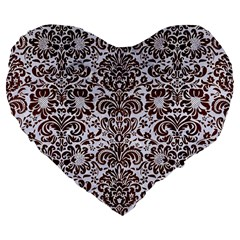 Damask2 White Marble & Reddish Brown Wood (r) Large 19  Premium Flano Heart Shape Cushions by trendistuff