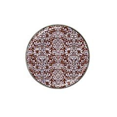 Damask2 White Marble & Reddish Brown Wood Hat Clip Ball Marker by trendistuff