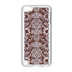 Damask2 White Marble & Reddish Brown Wood Apple Ipod Touch 5 Case (white) by trendistuff