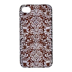 Damask2 White Marble & Reddish Brown Wood Apple Iphone 4/4s Hardshell Case With Stand by trendistuff