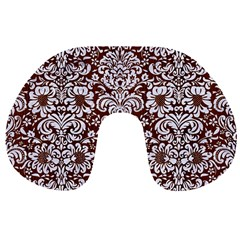 Damask2 White Marble & Reddish Brown Wood Travel Neck Pillows