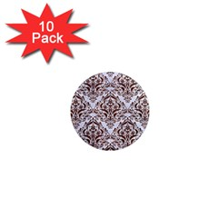 Damask1 White Marble & Reddish Brown Wood (r) 1  Mini Magnet (10 Pack)  by trendistuff