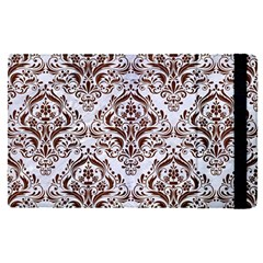 Damask1 White Marble & Reddish Brown Wood (r) Apple Ipad Pro 9 7   Flip Case by trendistuff