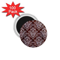 Damask1 White Marble & Reddish Brown Wood 1 75  Magnets (100 Pack)  by trendistuff