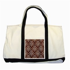 Damask1 White Marble & Reddish Brown Wood Two Tone Tote Bag by trendistuff